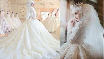 فساتين  زفاف محتشمة للمحجبات لعروس 2021